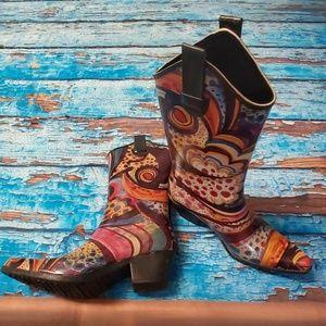 Corkys Cowboy Rubber Rain Boots Size 8